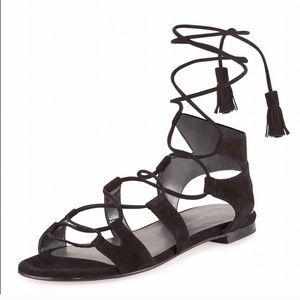 Stuart Weitzman Roman Black Gladiator Sandals